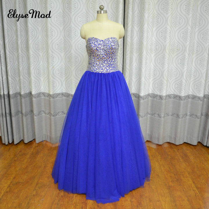 Royal Blue 2017 Lace Up Ball Gown Multi Layer Tulle Beaded Crystals - Vestidos para ocasiones especiales