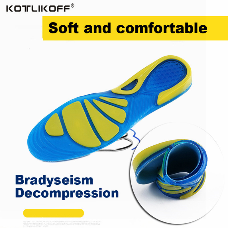 KOTLIKOFF Silicone gel insoles comfortable shoe insoles Shock absorption men shoes pads inserts  women massage insoles foot pad expfoot orthotic arch support shoe pad orthopedic insoles pu insoles for shoes breathable foot pads massage sport insole 045