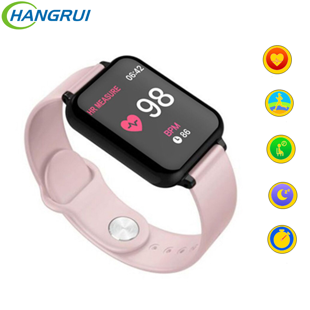 Relógio Inteligente B57 Hangrui IP67 Esporte Smartwatch À Prova D' Água Freqüência Cardíaca Pressão Arterial para iPhone Samsung Smart Telefone para o Homem Mulheres