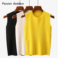 Korean Style Tanks Top Women Knitted Tanks High Collar Sleeveless Cute Crop Tops Camisas Mujer Elastic
