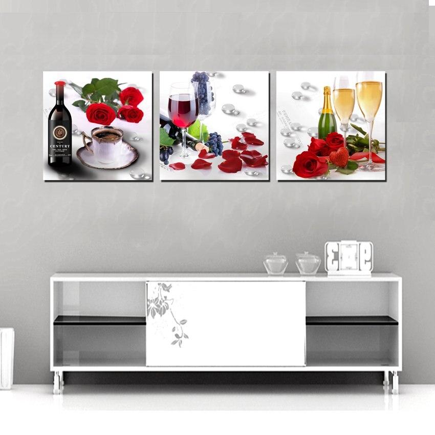 Home decoration 3 Pieces no frame art picture Canvas Prints Wine ...