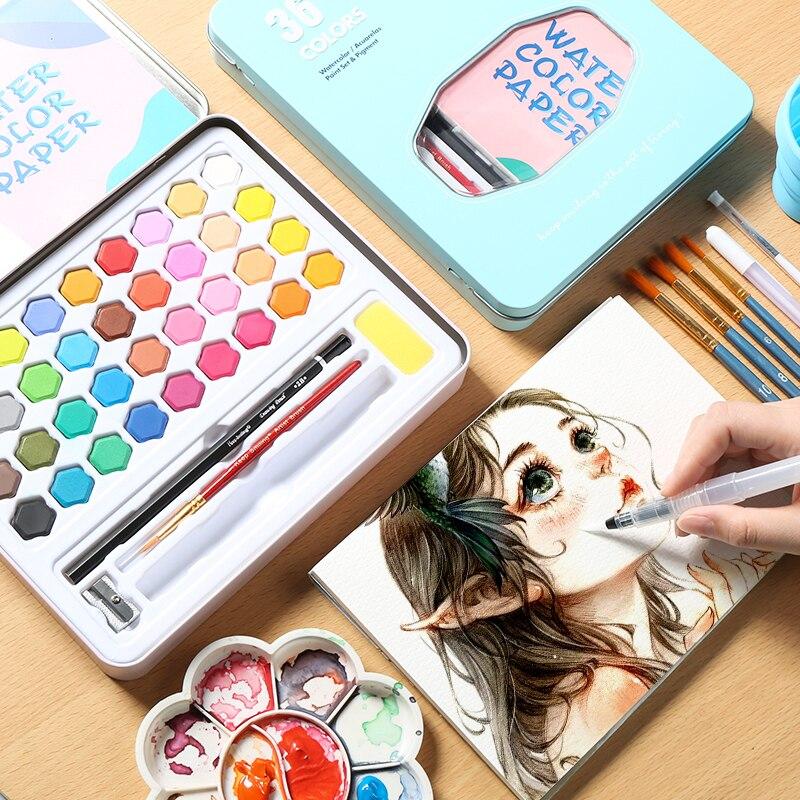 Caja de 36 colores de pintura de agua sólida con pincel portátil rosa/Negro/Azul Pigmento para pintar de acuarela suministros de arte