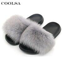 Coolsa New Brand Women Fluffy Fur Slippers Real Fox Animal Fur Slides Flat Plush Warm Couple