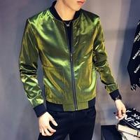Shinny Black Blue Silve Green Jacket Men Slim Fit BomberJacket Men Sharp Jaquetas Masculino Fancy DJ Club Outfit Bomber Homme