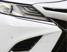 Lapetus Front Head Lights Lamp Eyelid Eyebrow Decoration Strip Molding Garnish Cover Trim Fit For Toyota Camry 2018 2019 2020