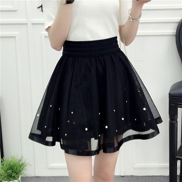 2d3b9982bc8c9 US $9.65 31% OFF|2019 New Spring Summer Women Black Mini Skirt Korean  Elastic High Waist Skirt Shorts Sweet Mesh Tulle Umbrella Skirt Falda  Tul-in ...