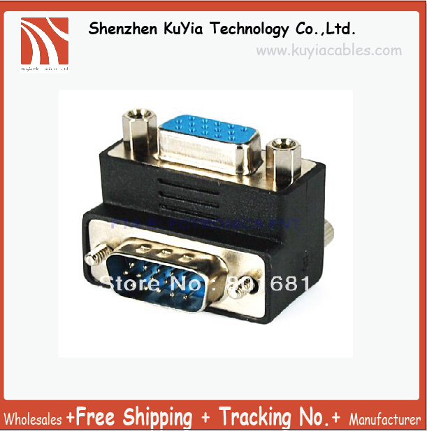 KUYiA Right Angle 90 Degree VGA SVGA Male To Female Adapter VGA Adapter Right Angle+Free Shipping