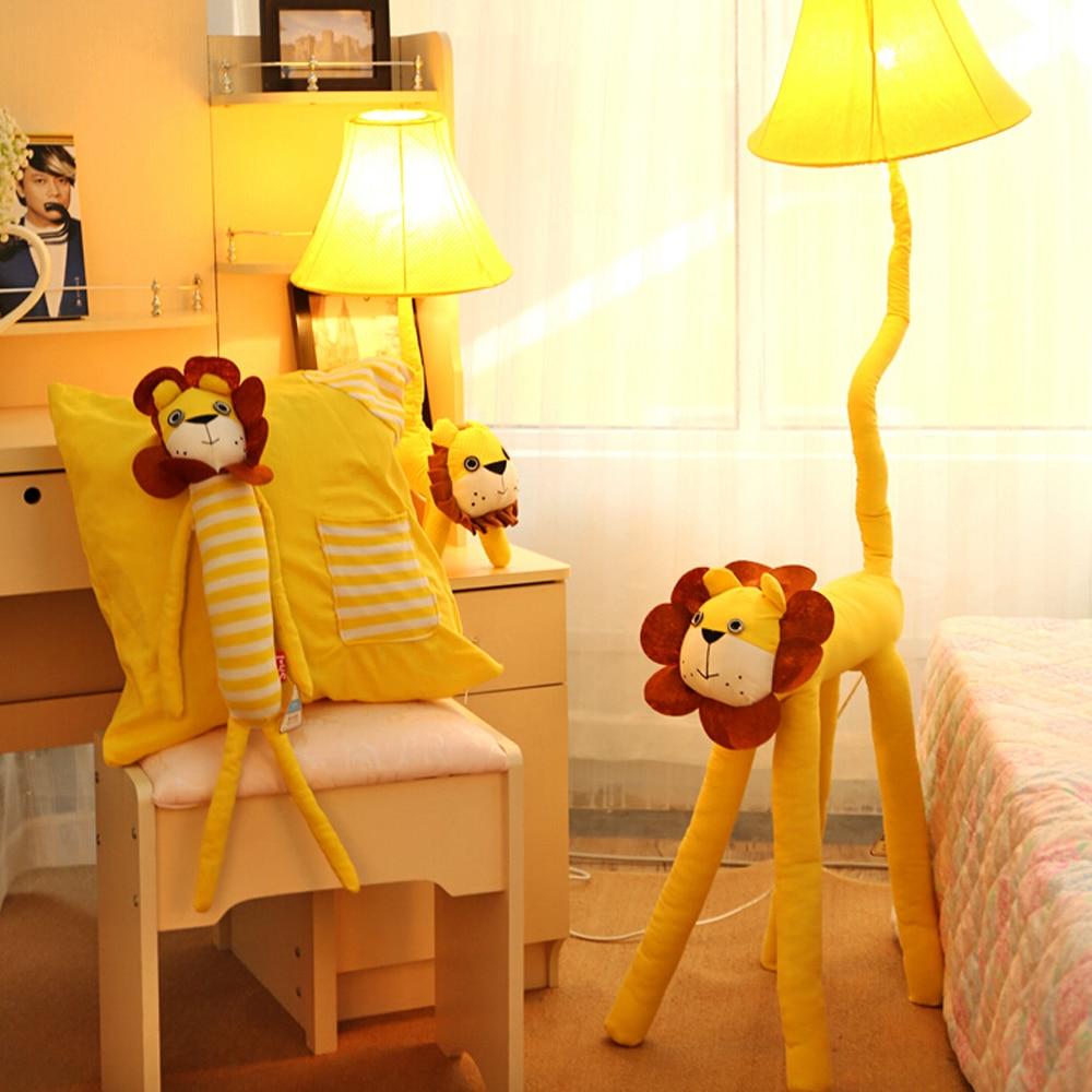 Yellow floor lamp - Fabric European Lighting Led Kids Floor Lamp 110v 220v E27 Yellow Lion Cartoon Cute Decor Standing Lamps Lighting Bedrooms In Floor Lamps From Lights