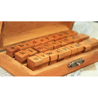 PHFU Pack Of 70pcs Rubber Stamps Set Vintage Wooden Box Case Alphabet Letters Number Craft No