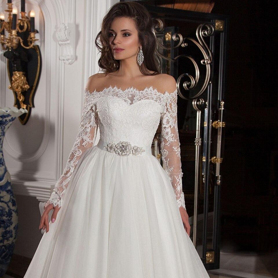 Sexy A Line Wedding Dress Off Shoulder Summer Bridal Dress Long