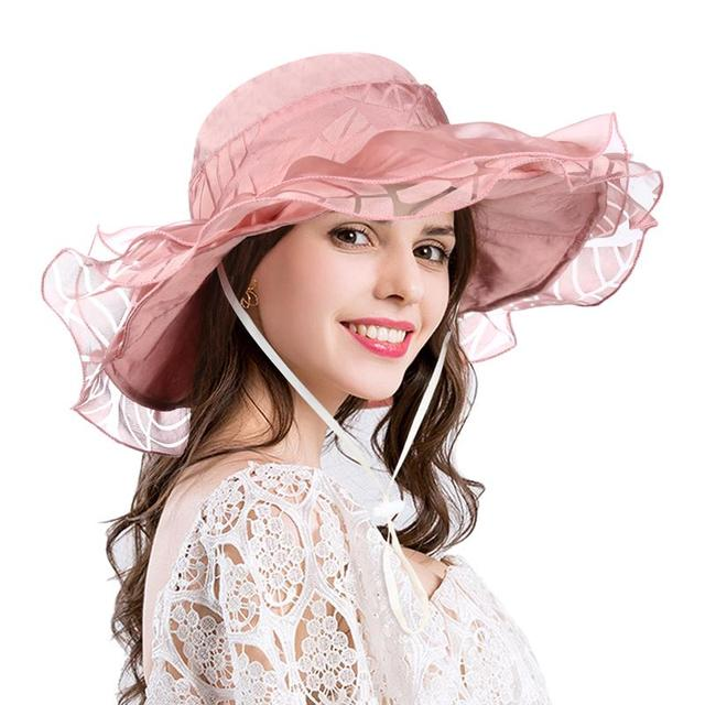 078689aab5c Vbiger Women Organza Sun Hat Trendy Beach Sunhat Foldable Wide Brim Hat  Portable Floppy Hat Outdoor