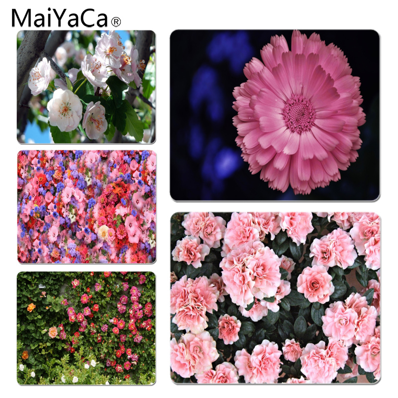 MaiYaCa New Design Blooming Red Flowers Customized laptop Gaming mouse pad Size for 18x22cm 25x29cm Rubber Rectangle Mousemats