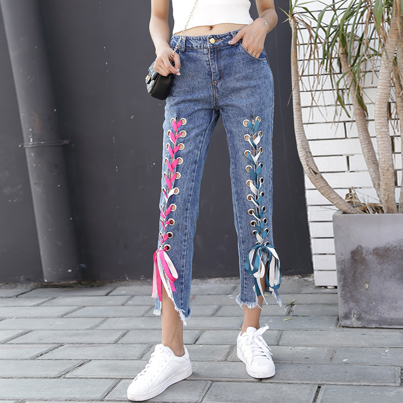 8eff9ee6b337 PAROLLADA Ribbon Lace Up Blue Jeans Ladies Ankle Length Skinny Jean -in  Jeans from Women s Clothing on Aliexpress.com