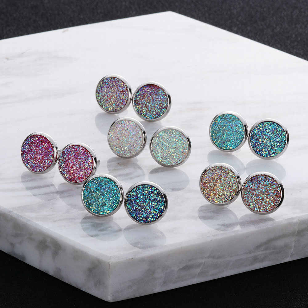 6 Pairs/Set Femme 12mm Round Silver Druzy Quartz Stud Earrings Set Bling Sparkly Crystal Rhinestone Ear Studs Charm Jewelry