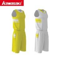 2017 Kawasaki Mens Basketball Clothes Set Male Sports Basketball Jersey Sleeveless Yellow White Stripe Training Shirt