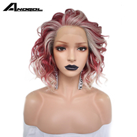 Anogol Pink Platinum Blonde High Temperature Fiber Wigs Long Natural Wave Free Part Synthetic Lace Front futura Fiber Wig