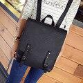 Tampa quadrada de alta qualidade nubuck couro mulheres mochila do vintage estilo Coreano mochila escolar feminino Mochila de Viagem