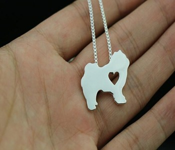 Drop shipping 1PCS Summer fashion cutechow chow dog necklace animal pendant jewelry golden colors plated image
