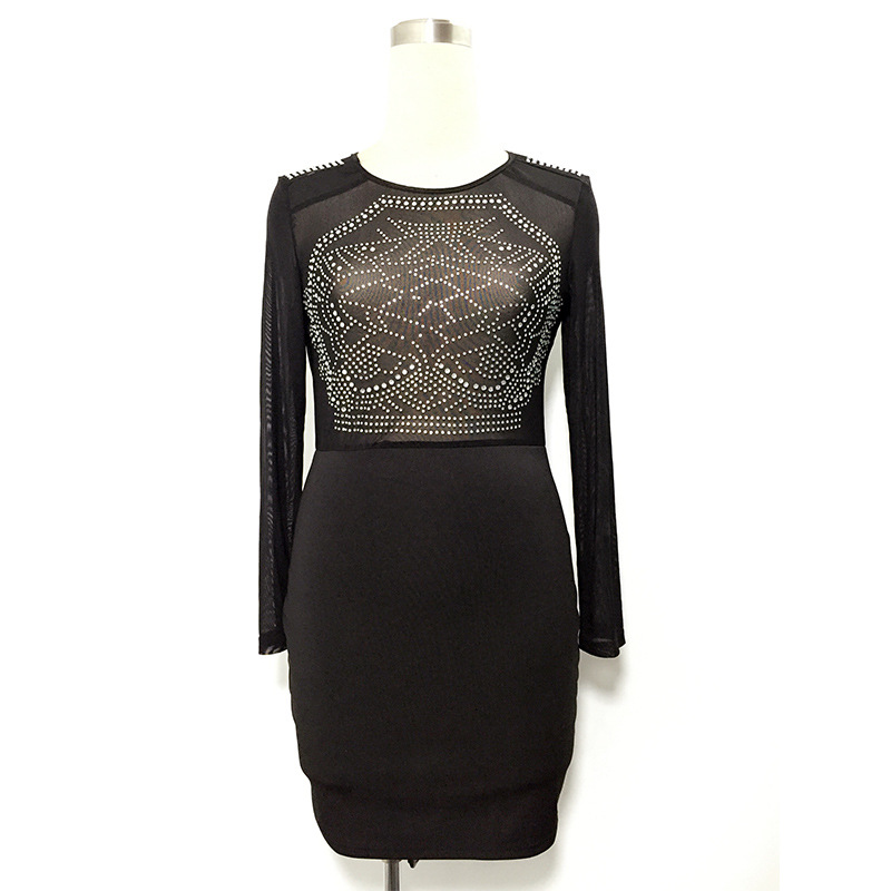 975db948efc 2018 Plus Size S XXL Mesh Patchwork Bodycon Dress Sexy Clubwear Black Bling  Dresses Party Vintage perspective Bandage Dress-in Dresses from Women s  Clothing ...