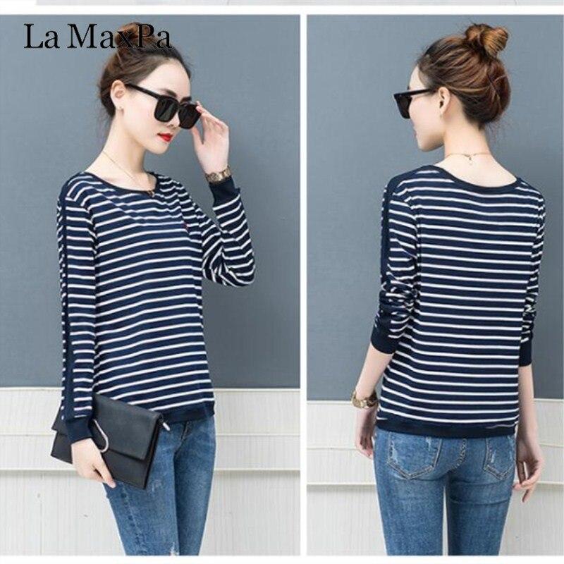 La MaxPa 2019 Spring New T-shirts For Women Classic Striped T Shirt O-neck Cotton Female 4XL Plus Size Tees 5