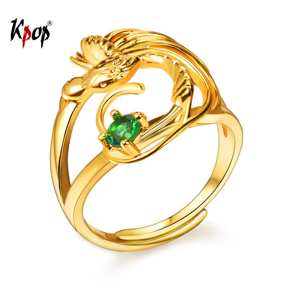 Kpop Phoenix Bird Adjustable Ring Gold Color Green Cubic Zirconia Crystal Engagement Wed ...