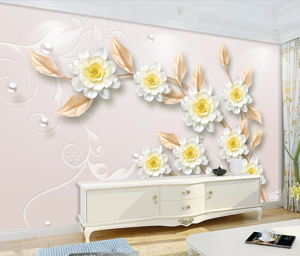 Beibehang Custom Wallpaper Modern 3d Aesthetic Jewelry Flowers Tv