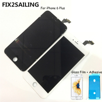FIX2SAILING 100% Grade AAA LCD Display Touch Screen Digitizer Assembly Replacement For Apple iPhone 6 Plus +Glass Film +Adhesive