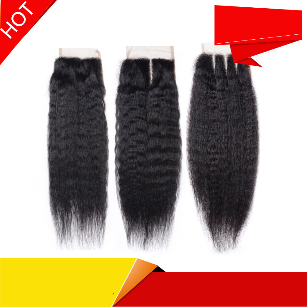 lace closure 4X4kinky straight Real hair with lace on top It can be dyed or ironed Natural color
