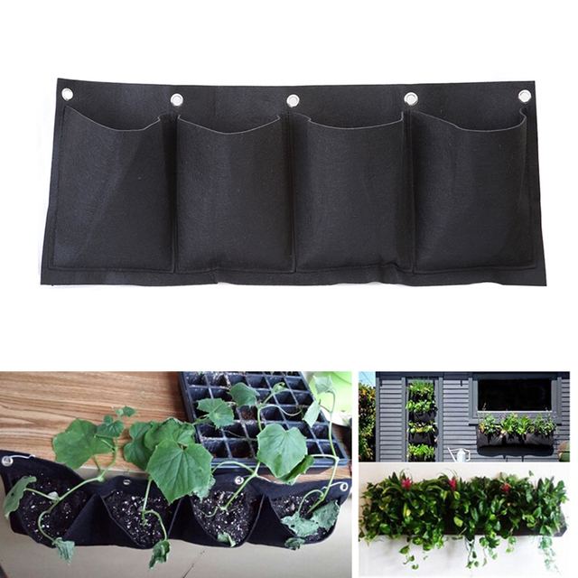 Outdoor Indoor Vertical Gardening Hanging Wall Garden 4 Pockets Planting Bags Seedling Wall Planter Growing Bags EJ877003