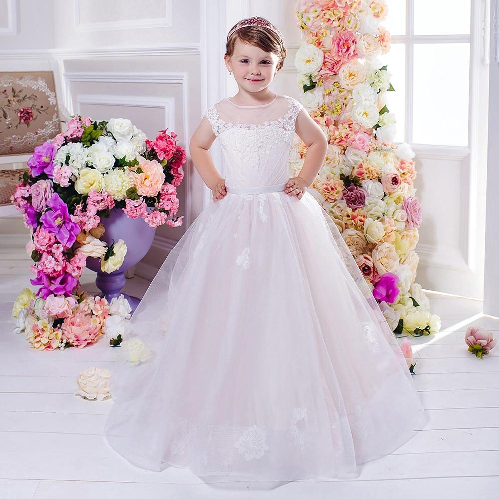 White/Ivory Flower Girl Dress Appliques Ball Gown Sleeveless Formal New First Communion Dresses Pageant Dresses for Girls Glitz