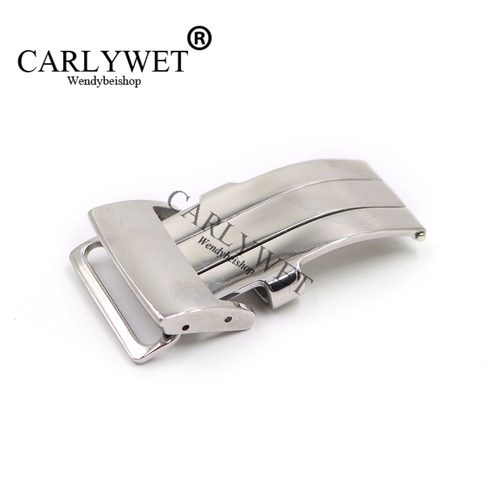 CARLYWET 20mm Silver Polished 316L Stainless Steel Watch Band Buckle Deployment Clasp For Less 3.2mm Leather Strap Belt 18mm wholesale new deployment watch band strap buckle clasp silver polished brushed high quality stainless steel without logo