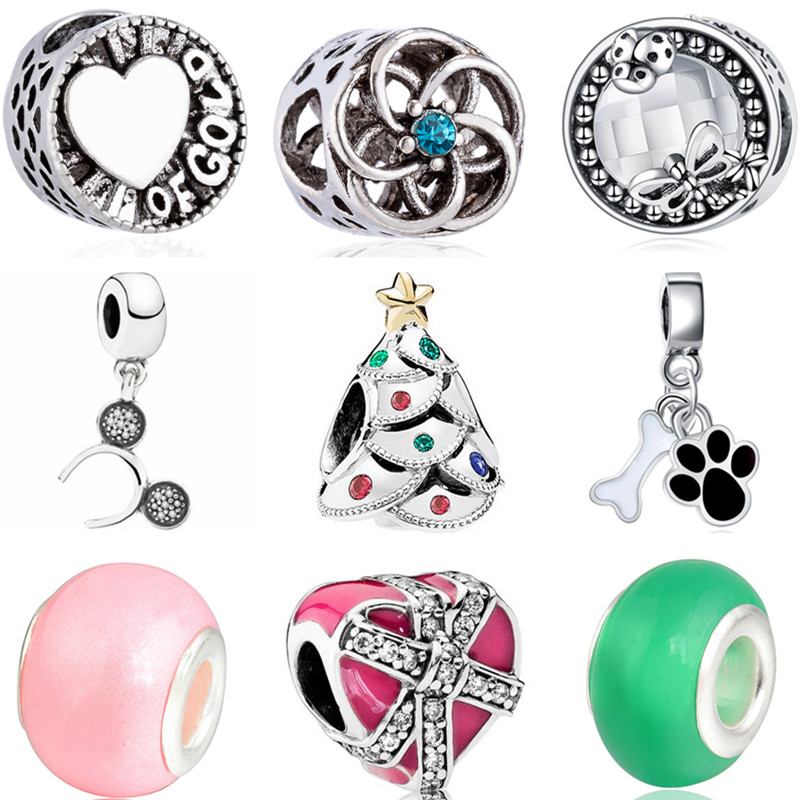 Bangles Charms Beads-Fit Pandora Bracelets Hot-Air-Balloon Making-Gifts Mickey Mouse