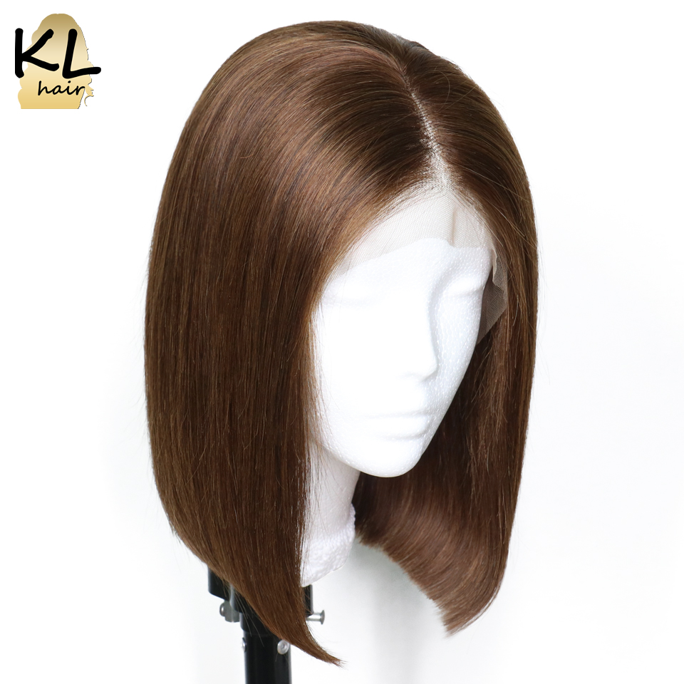 KL Pre Plucked Short Bob Wigs With Baby Hair Color 4 Straight Brazilian Remy Hair Lace