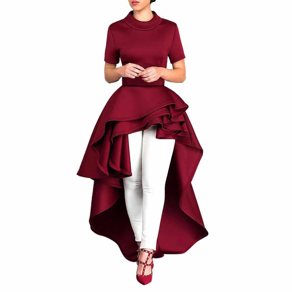 Autruche gratuite femmes à manches courtes haute basse Peplum robe moulante décontracté fête Club décontracté O cou robe vestidos D0235
