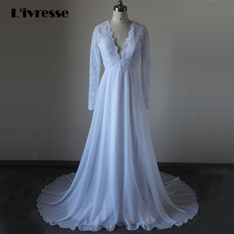 V Neck Lace Wedding Dresses: V Neck Backless Chiffon Long Sleeve Lace Wedding Dresses A