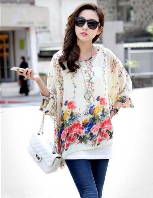 388fed35eafee Beautiful flower print women sheer shirts plus size summer blusas 2016  vogue design girls blusas fashion chiffon blouses