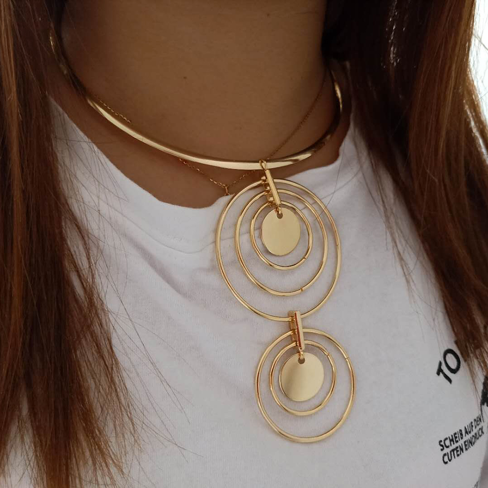 VIVILADY Trendy Statement Round Circle Jewelry Sets Crystal Choker Necklace Earrings Boho Women Wedding Party Bridal Gifts