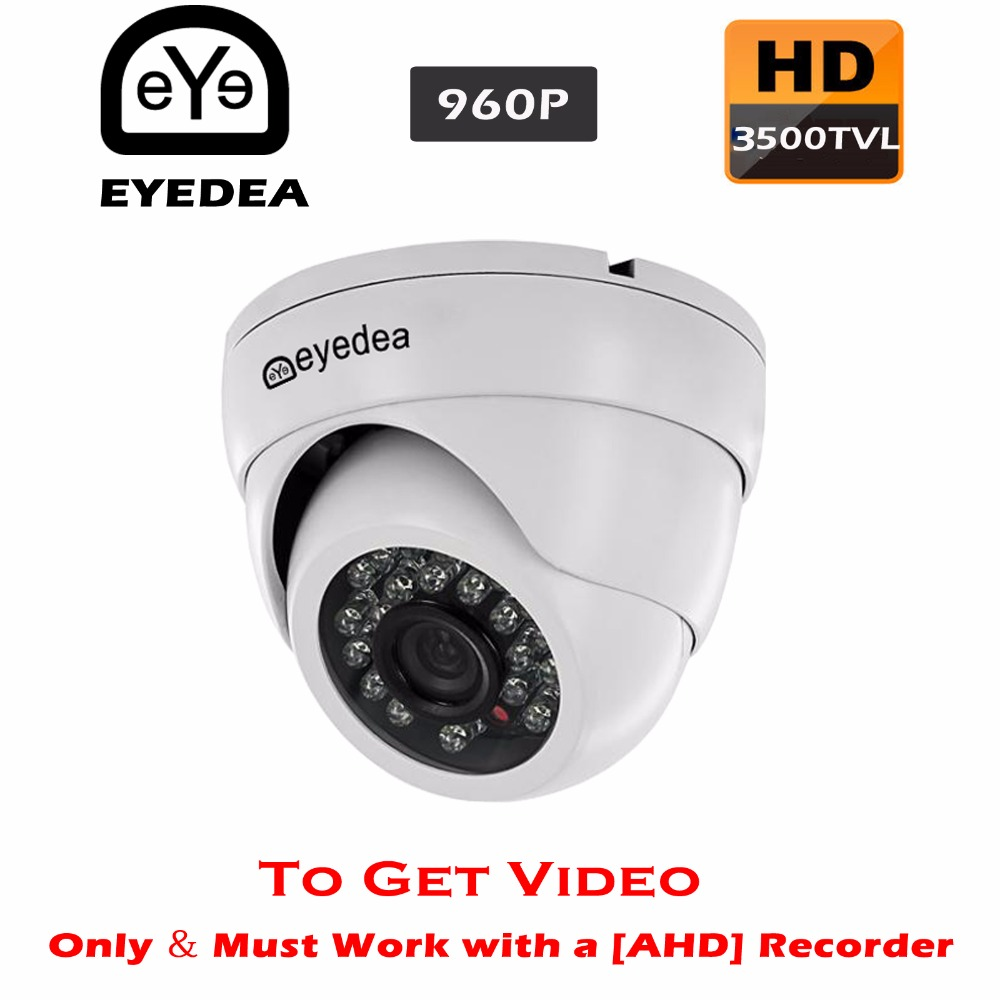 Eyedea HD 960P 3500TVL 1.3MP Night Vision White Dome Outdoor Waterproof Video Surveillance CCTV Security Camera for AHD Recorder ahd 720p 960p 1080p hd cctv camera security surveillance outdoor waterproof ip66 infrared night vision color 2 0mp home video