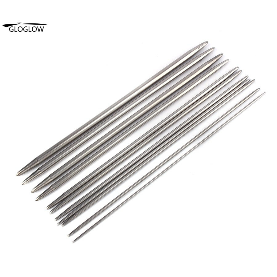 55Pcs 11sizes Double Pointed Stainless Steel Knitting