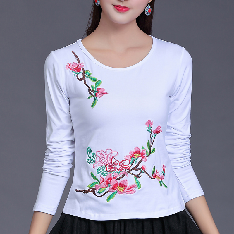 95% Cotton Ethnic Embroidery T Shirt Women Plus Size O Neck Spring Tops Long Sleeve Autumn Bottoming Solid Color White Tee Shirt