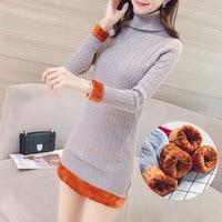 New Women S Plus Velvet Sweater Winter 2018 Fashion Pullover Turtleneck Plus Velvet Liner Thicken Warm