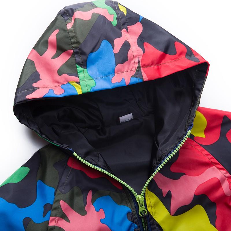 80-140cm Camouflage Spring Outerwear Children Hooded Jacket For Boys Kids Girls Trench Coat Hooded Windbreaker Sport Suit (2)