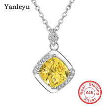 Yanleyu 2 Colors Real 925 Sterling Silver Pendant Necklace Yellow&Pink Cubic Zirconia Wedding Jewelry Necklace for Women PN047