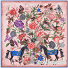 130 130cm Women Fashion Twill 100 Silk Euro Brand Animal Hand Oil Painting Ink Horse Square