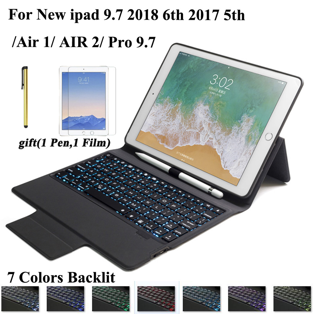 2018 New Fabric With 7 Backlit light Bluetooth Keyboard Case For New iPad 9 7 2017