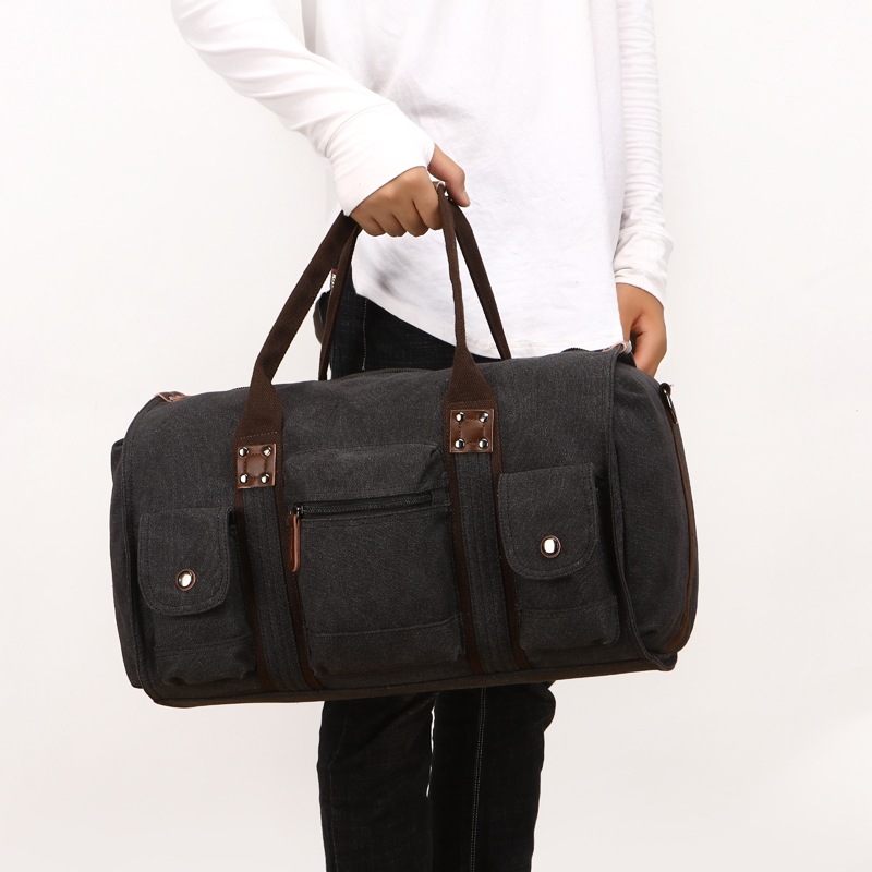 Image 5 - Travel Bag Large Capacity Men Hand Luggage Travel Duffle Bags Canvas Weekend Bags Business Trip Multifunctional Travel Bags-in Travel Bags from Luggage & Bags