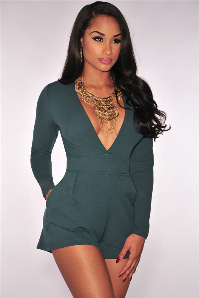 850ae52349 Green Black Women Sexy Deep V Neck Long Sleeve Rompers Short Jumpsuit  Bodycon Slim Fit Bodysuit Overalls One Piece Romper D60703 on  Aliexpress.com