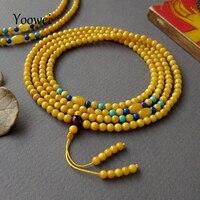 Yoowei 82 سنتيمتر العنبر سوار للنساء 3.5 ملليمتر صغيرة الجواهر الصلاة بوذا بسوء التأمل جولة الخرز الطبيعية العنبر المجوهرات الجملة