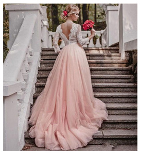 Image 2 - SoDigne Top Lace Appliques Wedding Dresses 2019 New Design Backless Bride Dress Long Train Dress White Ivory Wedding Gowns