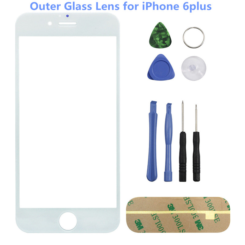 High Quality New Front Glass for iPhone 6 Plus 6p Top Front LCD Screen Outer Glass Lens Cover Panel Replacement Part with Tool image